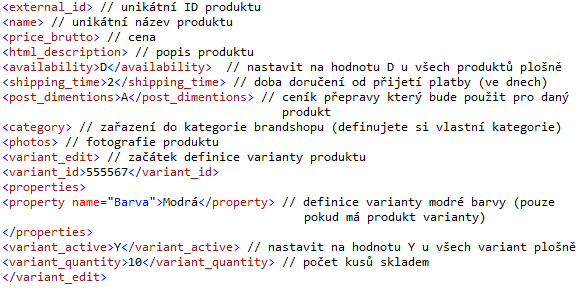 Přehled povinných parametrů pro XML feed zóny značek Aukro