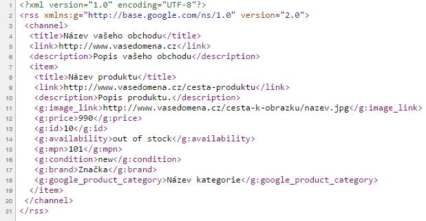 Náhled validního XML feedu
