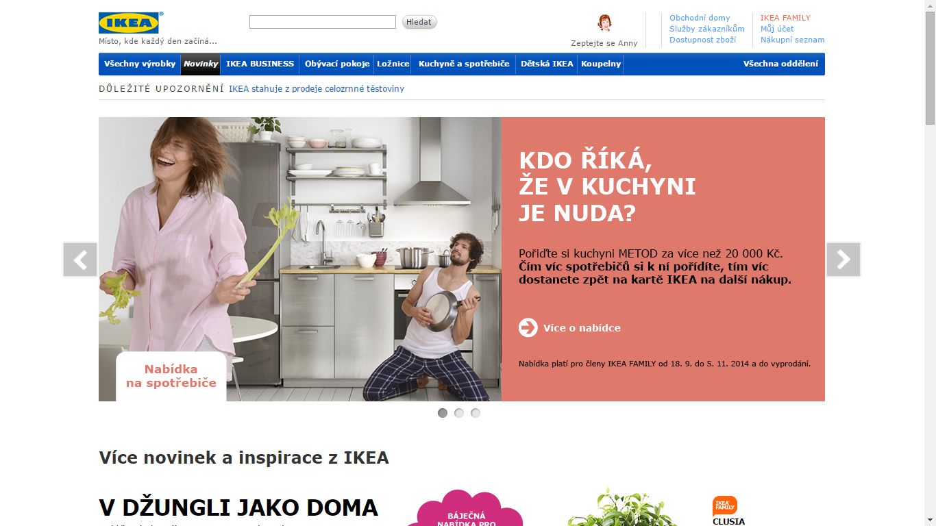 Náhled webu IKEA