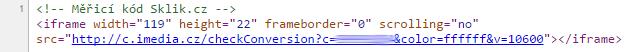 Příklad sledovacího kódu pro Sklik