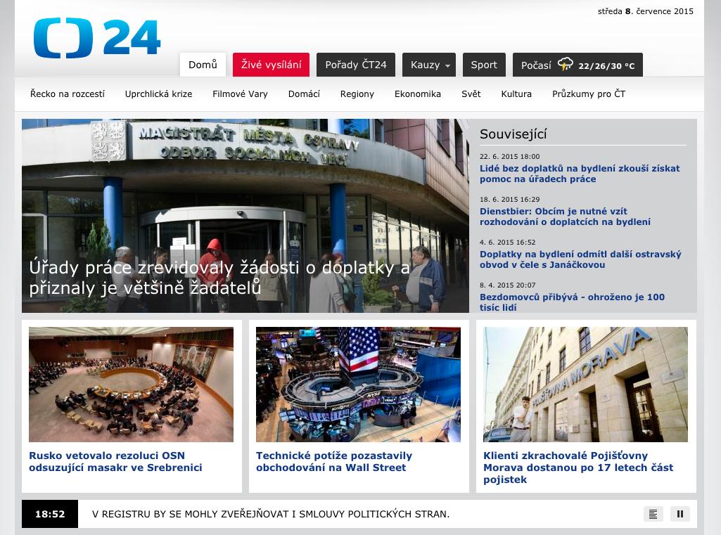 Starý design webu ČT24