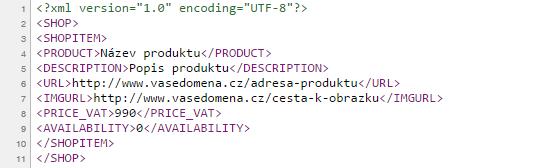 Náhled XML feedu pro Zboží.cz
